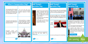 Inauguration Day Display Posters - KS1/2 Donald Trump Inauguration Day Jan 20th 2017