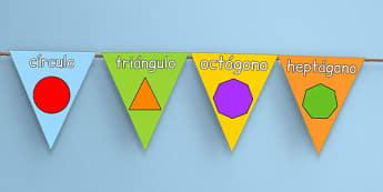 Formas geométricas 2D - banderitas de exposición - formas, geometría, cuadrado, círculo, póster, decoración