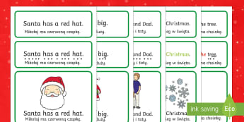 Christmas Simple Sentence Cards English/Polish - reading, sentences, eyfs, word cards, decoding, tricky words, sound button, phoneme, grapheme, phoni