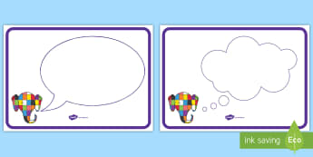 Speech and Thought Bubble Posters to Support Teaching on Elmer - elmer, elmer posters, elmer thought bubble posters, elmer speech bubbles posters, elmer display posters, story