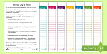 Weekly Log of Tasks Activity Sheet  - young people, stress management, prioritisation, family support, anxiety, transition, worksheet
