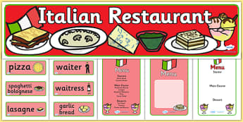 Italian Restaurant Role Play Pack - Italian restaurant, role play, pack, pasta, lasagne, food, Italian culture, Italy, spaghetti, menu