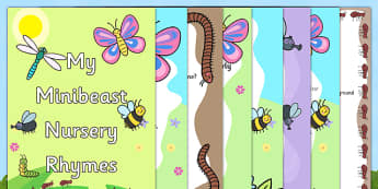 Minibeast Nursery Rhyme Booklet - minibeasts, minibeast, minibeast nursery rhymes, minibeast nursery rhymes booklet pack, minibeasts rhymes pack, minibeast poems pack, minibeast poems booklet, minibeasts poems booklet pack, zip pack, minibeasts rhyme