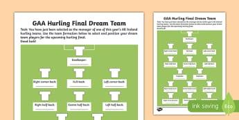 G.A.A. Hurling Final Dream Team Activity Sheet-Irish, worksheet