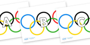 A-Z Alphabet on Olympic Rings - A-Z, A4, display, Alphabet frieze, Display letters, Letter posters, A-Z letters, Alphabet flashcards