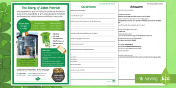 St. Patrick's Day Poster Comprehension Activity Sheet - St. Patrick's Day, Saint Patrick, Fact finding, Reading acitivity, Comprehension, Poster, Advertism