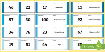 Numbers Ten to One Hundred Loop Cards German - Numbers, Counting, German, mfl, modern foreign language, maths, numeracy, ten, hundreds, ,German