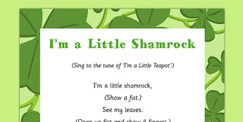 I'm a Little Shamrock Song - St Patricks day, I'm a little shamrock, shamrock, song