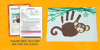 Handprint Monkey Craft EYFS Adult Input Plan and Resource Pack - EYFS planning, Early years activities, adult led, Chinese New Year, animals, jungle