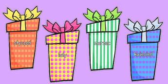 Nazwy miesięcy na prezentach urodzinowych po polsku - miesiące