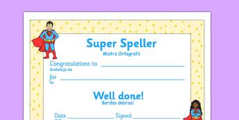 Super Spelling Award Polish Translation - polish, super spelling award, super, spelling, spell, how to spell, skills, certificates, award, well done, reward, medal, rewards, school, general, certificate, achievement