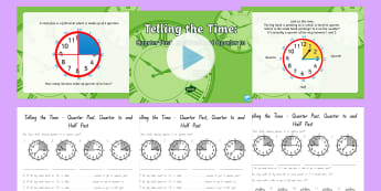 Telling the Time - Quarter Past Half Past Quarter to Differentiated Lesson Activity Pack - New Zealand, maths, time, half past, quarter past, clocks, minutes, Year 3, telling time, analogue c