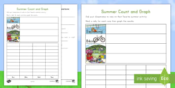 Favorite Summer Activity Graphing Activity Sheet - summer, summer season, first day of summer, summertime, worksheet, summer fun, summer activities, gr