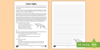 Urban Myths Activity To Support Teaching On Matilda, Chapter 12 - Chapter Chat, Novel Studies, Year 3 & 4 Chapter Chat, Matilda, Roald Dahl, Reading Activities, Urban