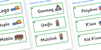 Jade Themed Editable Construction Area Resource Labels - Themed Construction resource labels, Label template, Resource Label, Name Labels, Editable Labels, Drawer Labels, KS1 Labels, Foundation Labels, Foundation Stage Labels