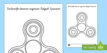 Entwerfe deinen eigenen Fidget Spinner Aktivität - fidget spinner, fidget spielzeug, hand spinner, spinner, handspielzeug,German