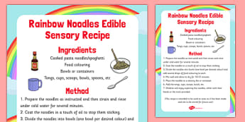 Rainbow Noodles Edible Sensory Recipe - rainbow noodles, edible, sensory, recipe