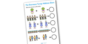 The Enormous Turnip Addition Sheet - the enormous turnip, addition sheets, the enormous turnip worksheet, the enormous turnip addition sheet