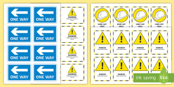 Small World Building Site Signs - Transport and Travel, bob the builder, diggers, small world, imaginary play, builders yard