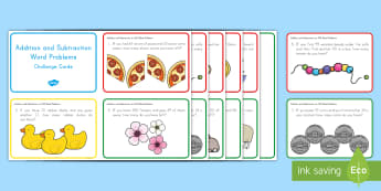 Addition and Subtraction to 100 Challenge Cards - Common Core Math, operations and algebraic thinking, problem solving, word problems, addition, subtr