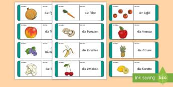 Fruit and Vegetable Loop Cards German - Fruit, Vegetables, German, Obst, Gemuse, DAF, DAZ, MFL