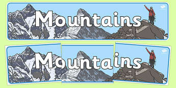 Mountains Display Banner - mountains, mountains of the world, mountain, world, display, banner, sign, poster, Asia, The Himalayans, Mount Everest, The Kilimanjaro, Africa, The Vinson Massif, K2, Mount McKinley, Canada, Aconcagua, Latin America