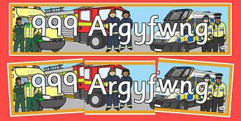 999 Argyfwng 999 Emergency Display Banner - welsh, cymraeg, 999, emergency, banner