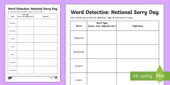 National Sorry Day Word Meanings Activity Sheet - Australia English National Sorry Day, 26 May, Year 3, Year 4, Year 5, Year 6, glossary.,Australia, w
