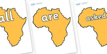Tricky Words on Africa - Tricky words, DfES Letters and Sounds, Letters and sounds, display, words