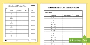 Subtraction to 20 Treasure Activity Sheet - Addition to 20 Treasure Hunt Activity - treasure hunt, -, worksheet, subtraction, minus, take away,