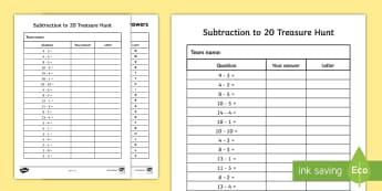 Subtraction to 20 Treasure Activity Sheet - Addition to 20 Treasure Hunt Activity - treasure hunt, -, worksheet, subtraction, minus, take away,