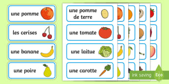French Fruit and Vegetable Vocabulary Cards - france, languages
