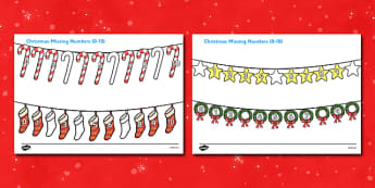 Christmas Missing Numbers Number Line Activity Sheet (0-10) - Christmas, xmas, missing number, number, order, ordering, advent, nativity, santa, father christmas, Jesus, tree, stocking, present, activity, cracker, angel, snowman, advent , bauble sort