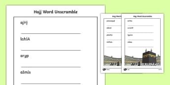 Hajj Differentiated Word Unscramble
