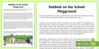 There Is Too Much Rubbish on the School Playground Exposition Writing Sample-Australia - Literacy, There Is Too Much Rubbish on the School Playground Exposition  Writing Sample, writing sam