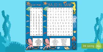 Bajo el mar Sopa de letras-Spanish
