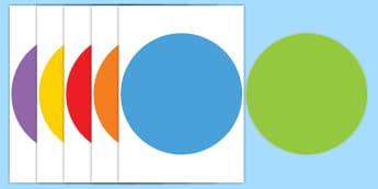 Círculos grandes de DIN A4 multicoloridos y editables - lecto, leer, literatura infantil, cuentos, cuento, crecimiento, ciclo de vida, ciclo vital, bichos,