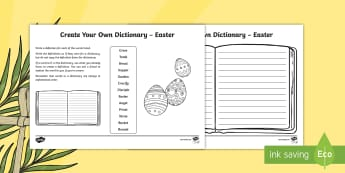 Easter Key Vocabulary Create Your Own Dictionary Activity - CfE Easter, Literacy, English, writing, alphabetical order, define, definition, creating texts, dict