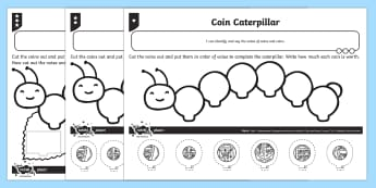 Coin Caterpillar Differentiated Activity Sheets - Measurement, money, coins, value, british coins, comparing coins, coin value