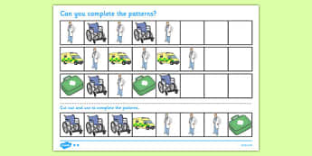 Doctor's Surgery Complete the Pattern Worksheet - doctors surgery, complete, pattern, worksheet