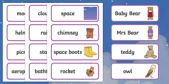 Word Cards to Support Teaching on Whatever Next! - Whatever Next!, Jill Murphy,  resources, space, baby bear, Large family, rocket, moon, owl, story, story book, story book resources, story sequencing, story resources, Word cards, Word Card, flashcar