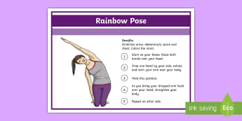Yoga Rainbow Pose Step-by-Step Instructions - Yoga, health, stress, calm, peace, KS1, KS2, well being, anxiety, work life balance, WLB
