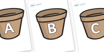 A-Z Alphabet on Flower Pots (Plain) - A-Z, A4, display, Alphabet frieze, Display letters, Letter posters, A-Z letters, Alphabet flashcards