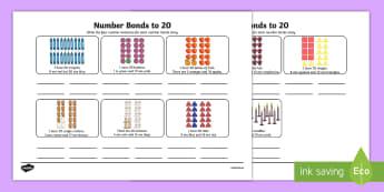 Number Bonds Stories Worksheet - number bonds, 20, stories, number, bonds