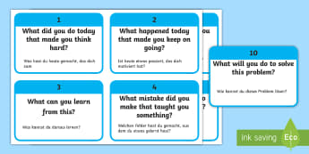 10 What Questions to Develop Growth Mindset in Children Flashcards English/German - 10 WHAT Questions to Develop Growth Mindset in Children - PSHE, psychology, growth, mindset, EAL, Ge