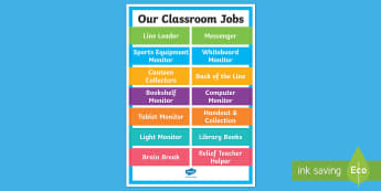 Class Jobs Display Poster - Back to School Australia, back to school, Australia, class jobs, jobs chart, student jobs, students