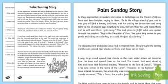 Palm Sunday Reading Comprehension Activity - comprehension, activity