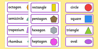 2D Shape Word Cards - 2D Shape names, Shape Flashcards, Shape Pictures, Shape Words, 2D flashcards