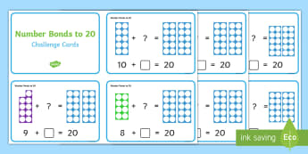 Number Shapes Number Bonds to 20 Challenge Cards - Requests KS1, maths, number bonds, 20, twenty, adding, numicon, calculations, number day