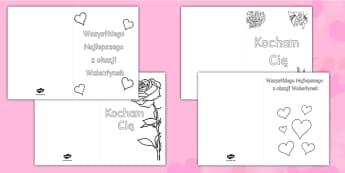 Kartki Walentynkowe po polsku - kolorowanka, walentynka